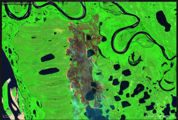 Copernicus - Yakutia, Siberia lake and burn area