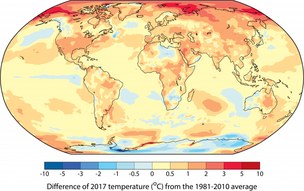 Wmo Confirms 2017 Among The Three Warmest Years On Record World