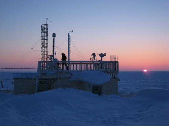 WMO Integrated Global Observation System Barrow GAW Global station during sunrise United States