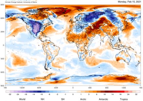 US Cold Wave Feb 2021: Climate Reanalyzer