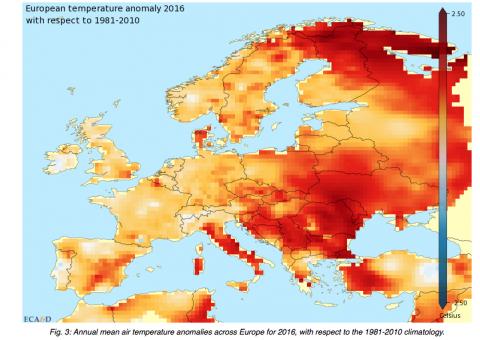 Europe temperatures 2016