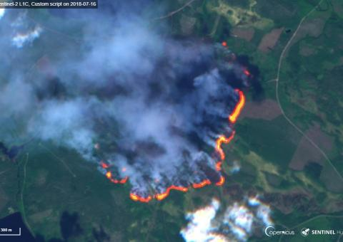 A forest fire burning in Enskogen, Sweden, as seen by Copernicus Sentinel-2 on 16 July