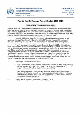 WMO OPERATING PLAN 2020-2023