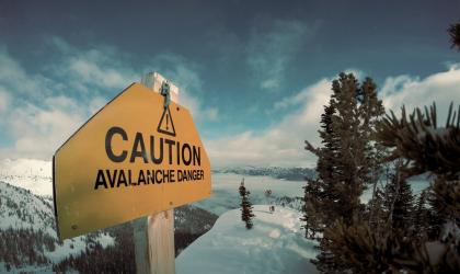 Avalanche danger indication on a mountain.