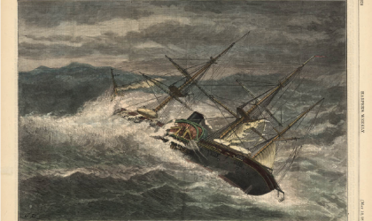 """The United States Steamer """"Powhatan"""" in a cyclone of Hatteras – From a sketch by G.T. Douglass, U.S.N. – [See Page 374.] in Harper's Weekly, May 12, 1877."""
