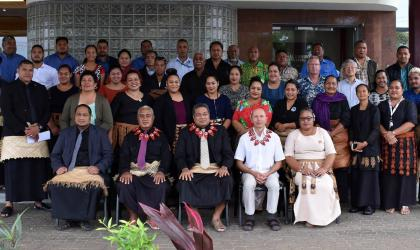 Minister for MEIDECC Honorable Poasi Mataele Tei and Participants of the Users Climate Outlook Forum