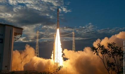 Aeolus heads for orbit. (ESA/CNES/Arianespace)