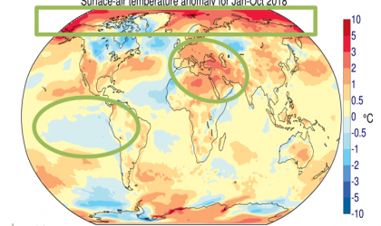Surface air anomaly in 2018 compared to 1981-2010 baseline