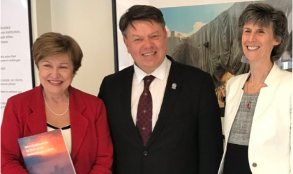World Bank interim President Kristalina Georgieva, World Bank Vice President Laura Tuck and WMO SG Petteri Taalas 1.4.2019