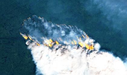 Wildfires in Ontario, Canada. Image by Sentinel2 satellite via Copernicus EMS