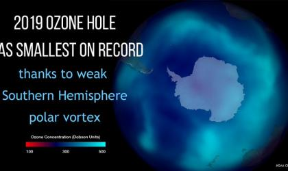 Small  ozone hole in 2019