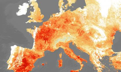 This image, supplied by the European Space Agency, shows the land surface temperature on 25 July 2019, amid the European heatwave.