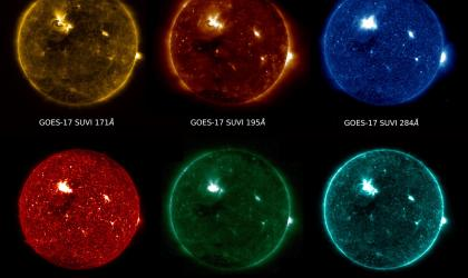 GOES-17 SUVI view of the sun in six extreme ultraviolet wavelengths during a solar flare on May 28, 2018. Credit: NOAA/NASA