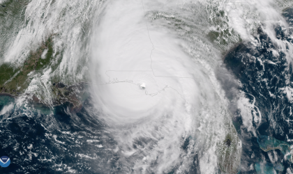 NOAA's GOES-East captured this image of Hurricane Michael as it came ashore near Mexico Beach, Florida on Oct. 10, 2018.  (NOAA)