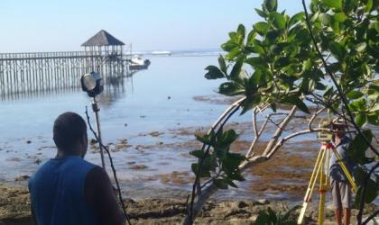 SPC team surveying topography of the reef and shore along the Coral Coast (WACOP Project)