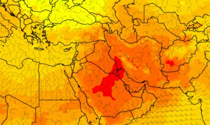 Heatwave impacting Middle East 21 July 2016, image via Météo France