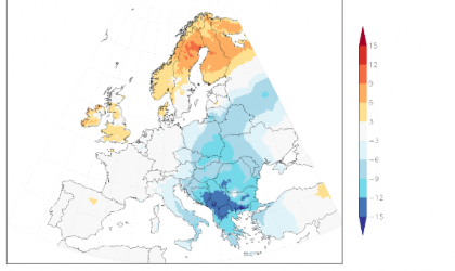 Deviation from normal of the daily mean temperature over the five days 7-11 January 2017 in Europa. Source: KNMI/E-OBS.