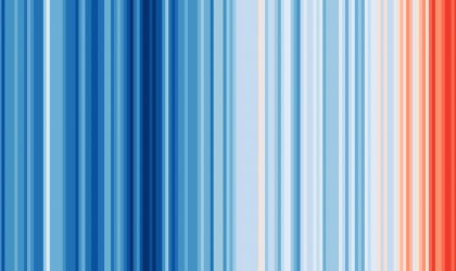Warming stripes, globe, 1850-2018 (courtesy Ed Hawkins)