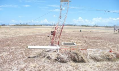 Twisted remains of an Automatic Weather Station in Anguilla after Hurricane Irma in 2017