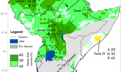 Above average rainfall in Eastern Africa July-Sept 2020