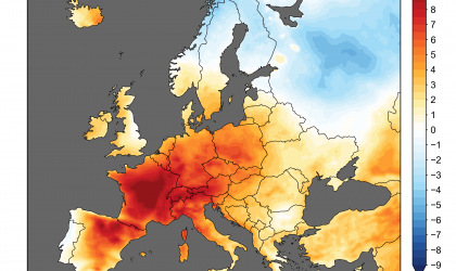 Map of anomalies in temperature (°C) estimated from ERA5 25-29 June 2019. ECMWF, Copernicus Climate Change Service).