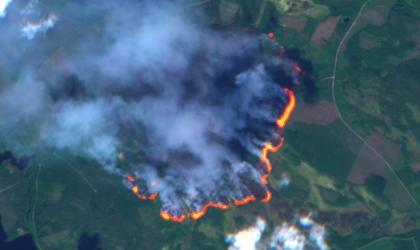 A forest fire burning in Enskogen, Sweden, as seen by Copernicus Sentinel-2 on 16 July