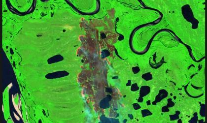 Copernicus - Yakutia, Siberia lake and burn area