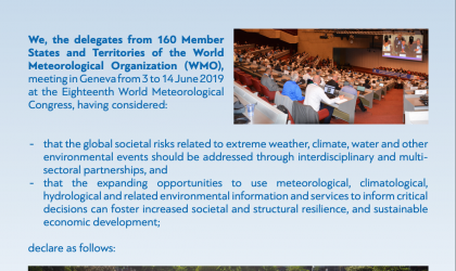 Geneva Declaration – 2019: Building Community for Weather, Climate and Water Actions