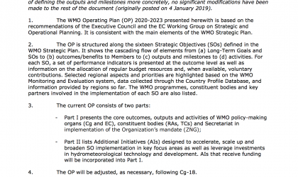 WMO OPERATING PLAN 2020-2023