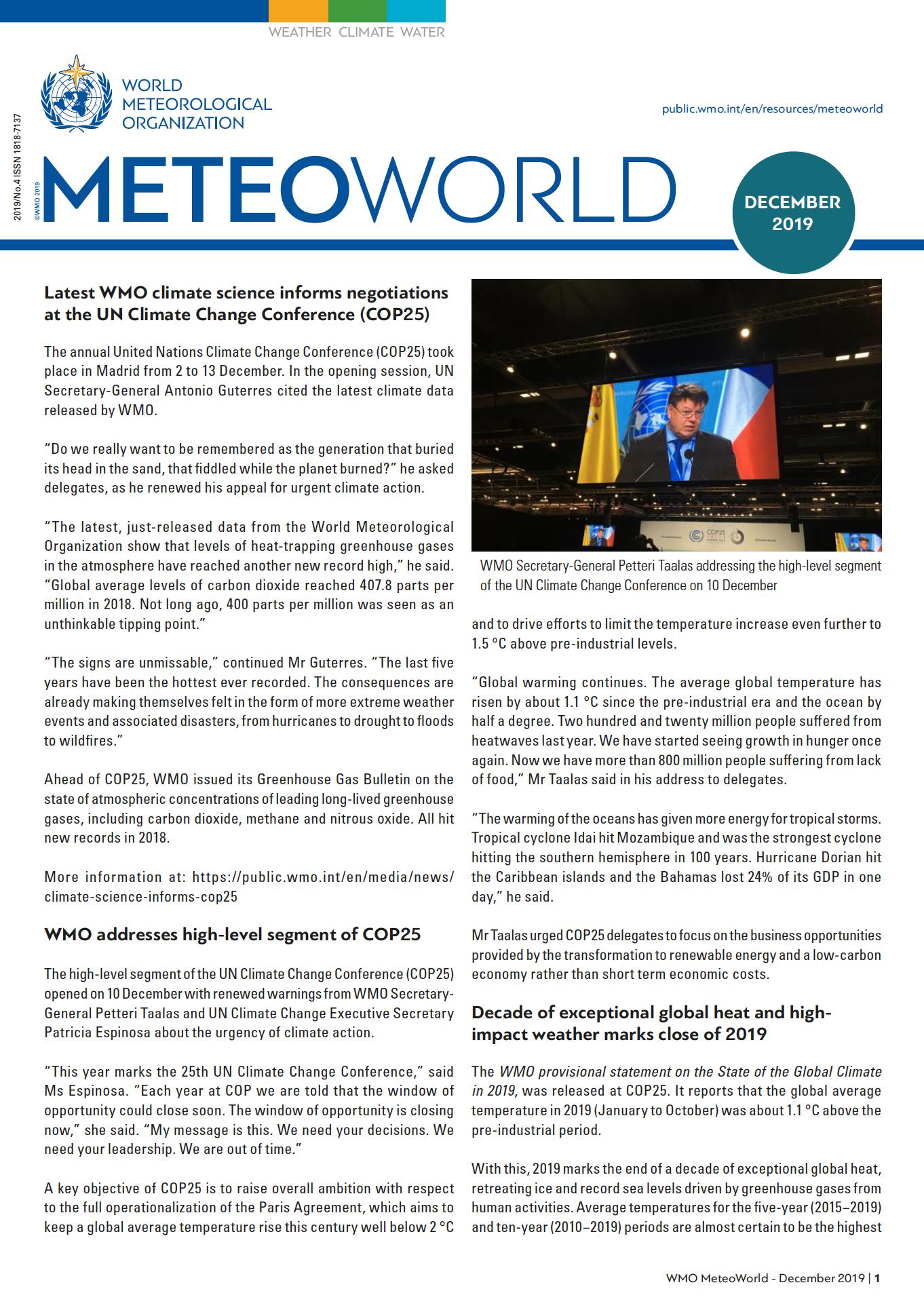 MeteoWorld No.4/December 2019 Cover
